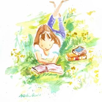 Literary Lights: girl reading