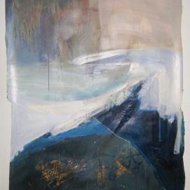 Ebb and Flow, 33″x42″, acrylic, monoprint, salt, on paper ©2014