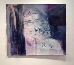 Sensitive, 42″x49″, acrylic, monoprint, salt, on paper ©2014