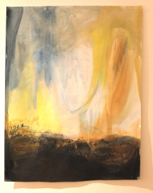 Terrified of tomorrow each day, 52″x 42″, acrylic, monoprint, salt, on paper ©2014