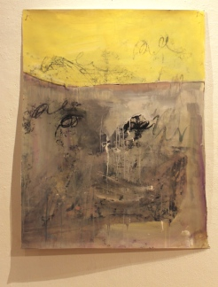 Time to stop – or change to stop, 33″x42″ acrylic, monoprint, salt, on paper ©2014