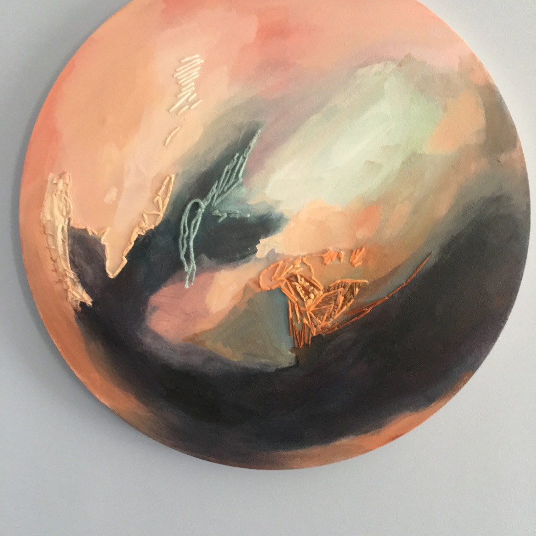 """NFS """"Pink Moon."""" Acrylic and embroidery thread on 20"""" round canvas"""