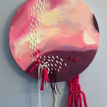 """NFS """"Your Presence Is Requested."""" 12"""" diameter, acrylic, wool, cotton fiber on canvas"""