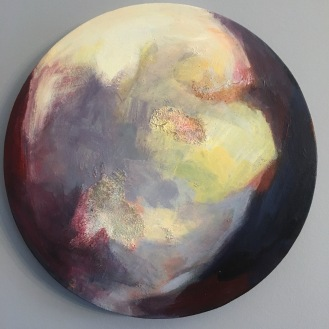 "$300 ""Crescent."" 16"" diameter, salt, acrylic glaze on canvas"