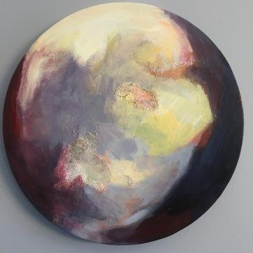 "$300 ""Crescent."" 16"" diameter, salt, acrylic glaze on canvas"